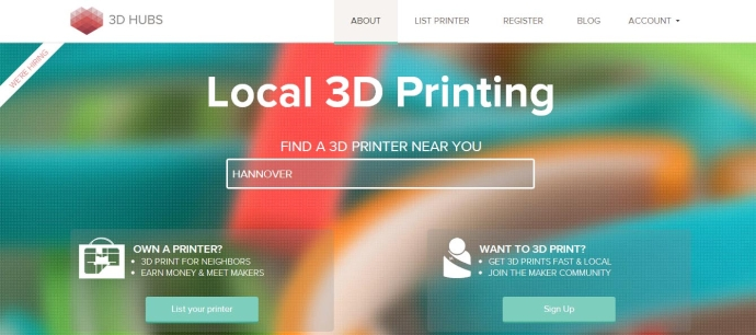 3D Hubs Screenshot Homepage