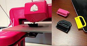iPad-Verstärker im 3D-Drucker und Foto aller drei Prototypen