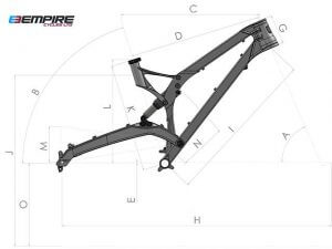 Rahmen des Empire MX6 Dirt Bike mit Maßbereichen