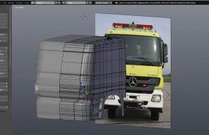 Screenshot 3D-Modellierung Führerhaus des Tanklöschfahrzeugs