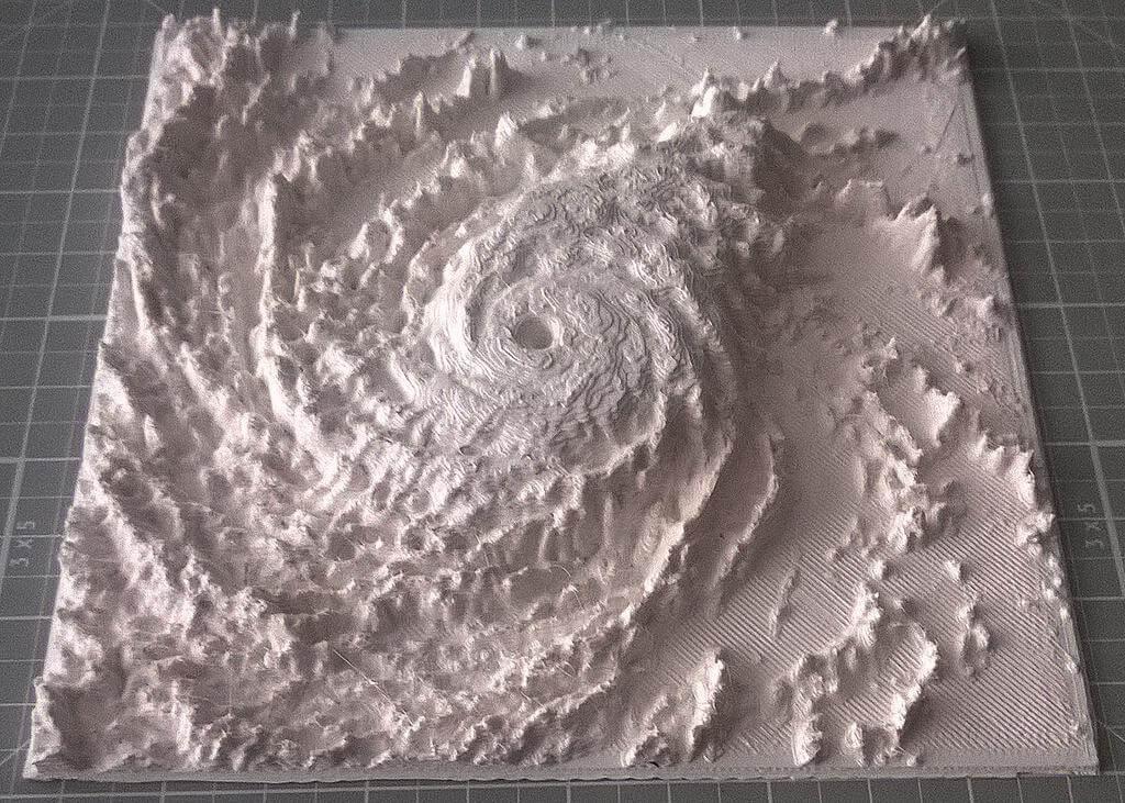 3D-Modell von Hurrikan Julio aus 3D-Drucker