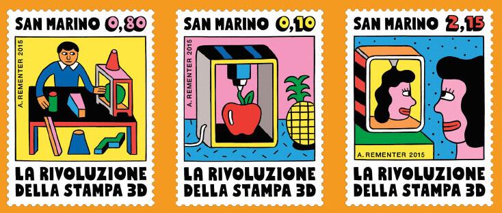 Briefmarken zum 3D-Druck/ über 3D-Drucker von Andy Rementer. Kollektion San Marino (Bild © Andy Rementer)