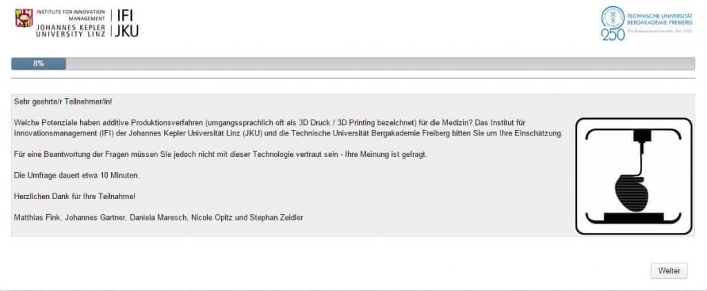 "Screenshot Umfrage ""3D-Druck in der Medizin"""