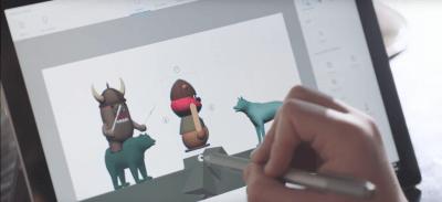 3D-Bildgestaltung am Tablet.