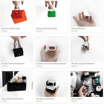 Miniatur Designer-Taschen aus dem 3D-Drucker