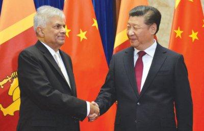 Sri Lankas Premierminister und chinesischer Präsident.