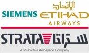 Siemens, Strata und Etihad Airways Logo.