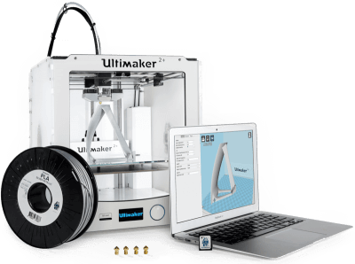 Ultimaker 2+ mit Laptop.