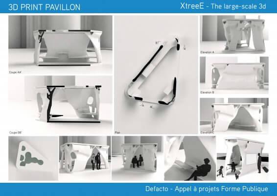 3D-gedruckte Pavillons.