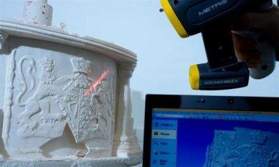 3D-Scanner scannt Hochzeitstorte