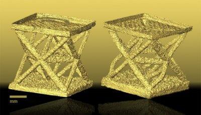 3D-gedruckte Miniatur Gitterstrukturen.