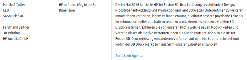 Agenda HP Solutions Day 2017