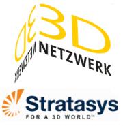 Logo Stratasys und 3D Netzwerk
