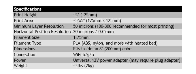 spezielle Maße des 3D-Druckers