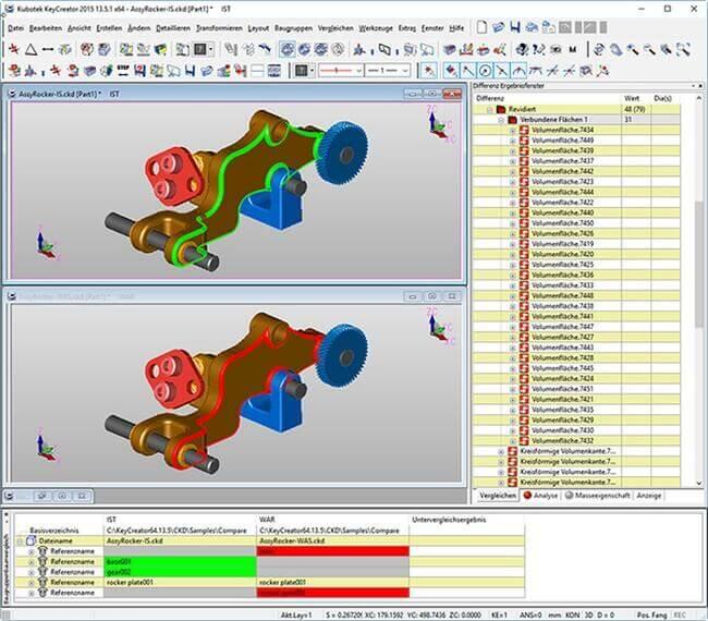 KeyCreator Software vergleicht 3D-Modelle