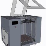 Visuelle Darstellung von einem Großraum 3D-Drucker