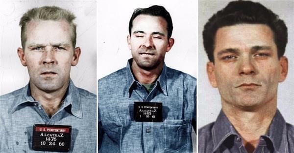 Die Häftlinge John und Clarence Anglin sowie Frank Morris.