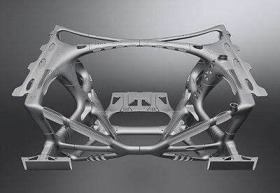 3D-gedruckte Vorderwagenstruktur