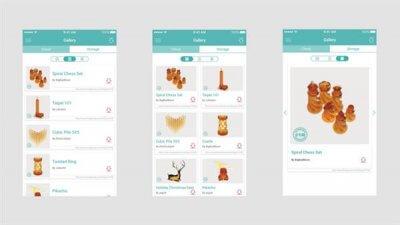 Die T3D-App und einige ihrer Modelle.