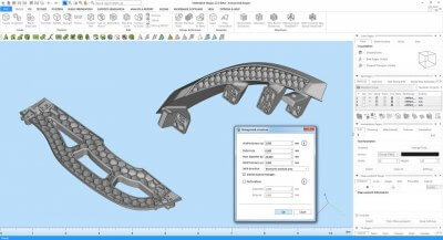 Mit Materialise Magic-Software entwickelte Honigwabenstruktur.