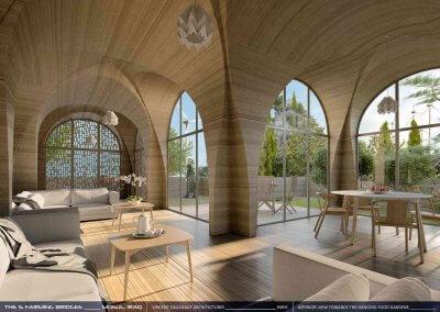 Offener Wohnbereich in geplantem 3D-gedruckten Brückenhaus.