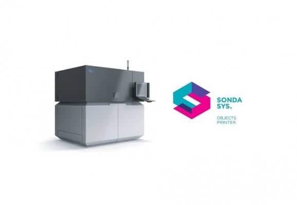 SONDA sys. 01 3D-Drucker und Firmenlogo.