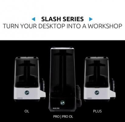 UNIZ 3D-Drucker SLASH OL, SLASH PRO und SLASH + als Frontansicht.