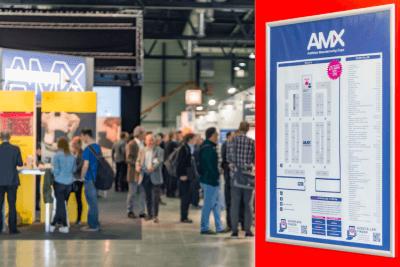 Blick in AM Expo Halle und auf Messeplan.