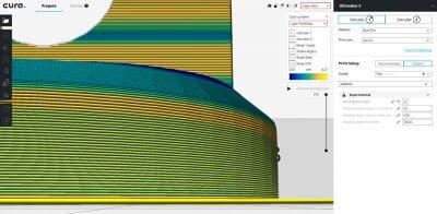 Darstellung der Schichtdicke bei 3D-Software Cura.