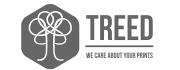 "Treed Filaments Logo ""Treed, We care about your prints"" und Symbol eines Baumes in grauem Sechseck"