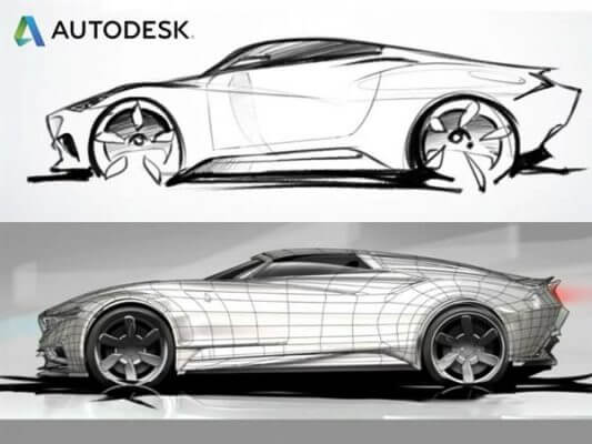 ein Bild eines Autos in der Software Autodesk