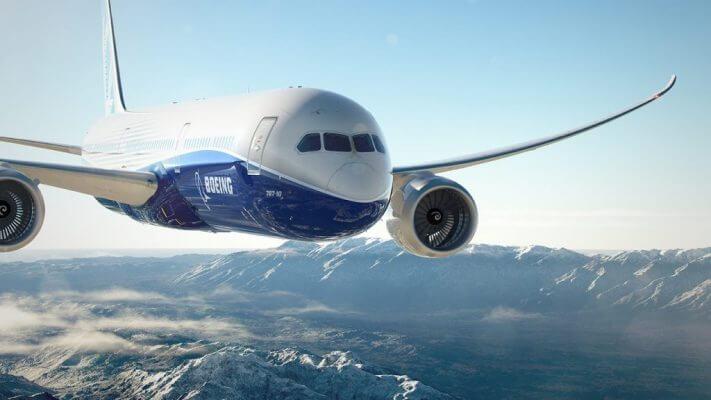 Boeing 787 Dreamliner Abbildung über den Wolken