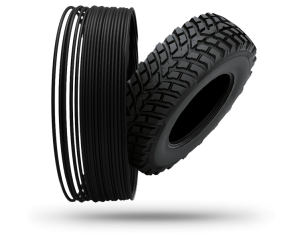 Filament aus recyceltem Reifen, links Filament, rechts Reifen