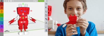 Abbildung Kind mit Ergebnis seiner Kreation auf TinkerToys