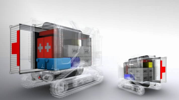Konzeptzeichnung eines unbemannten Cargo-Systems