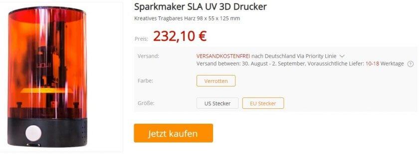 SparkMaker SLA 3D-Drucker Shop