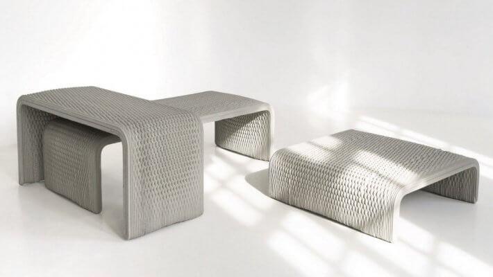 3D-gedruckte Betonbänke