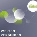 """Titelbild des Booklets """"Welten verbinden"""" grauer Hintergrund, weiße Schrift mit Logo des Karl Steinbuch Forschungsprogramms"""