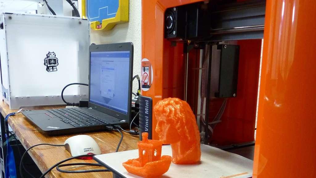 3D-gedrucktes Objekt und Laptop daneben