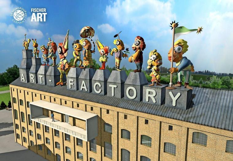 3D-gedruckte Figuren auf einer Brikettfabrik