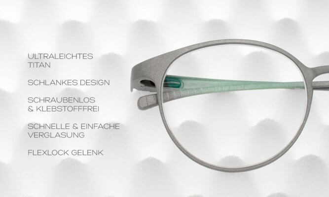 Details der Brillen der titanium skyline collection