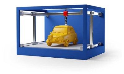 Blauer 3D-Drucker