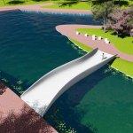 Die 3D-Kunststoffbrücke aus der Vogelperspektive