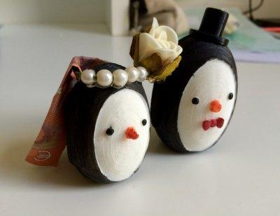 Selbst gemachte Pinguin-Braut und -Bräutigam