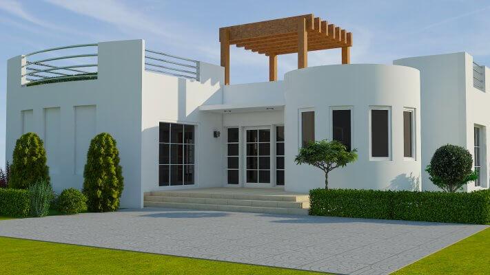 Vorderansicht des Modells des 3D-gedruckten Hauses