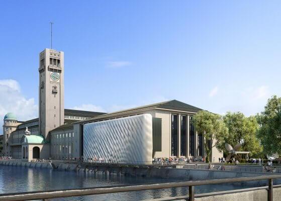Gewellte Fassade am Interimseingang des Deutschen Museums München