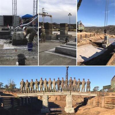 Zusammenschnitt der Bilder zum Bau der Brücke im Camp Pendelton
