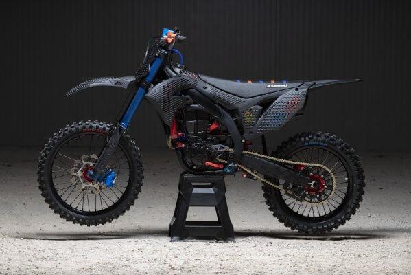 Seitenansicht 3D-gedrucktes Motorrad