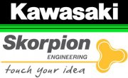 Logo Kawasaki und Skorpion Engineering