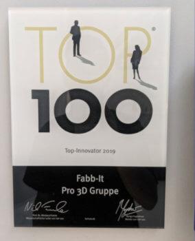Top 100 Auszeichnung der Fabb-It pro3D Gruppe